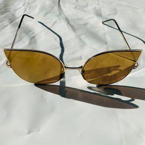 Cat Eye Shaped Gold Rimmed Gold Lens Sunglasses